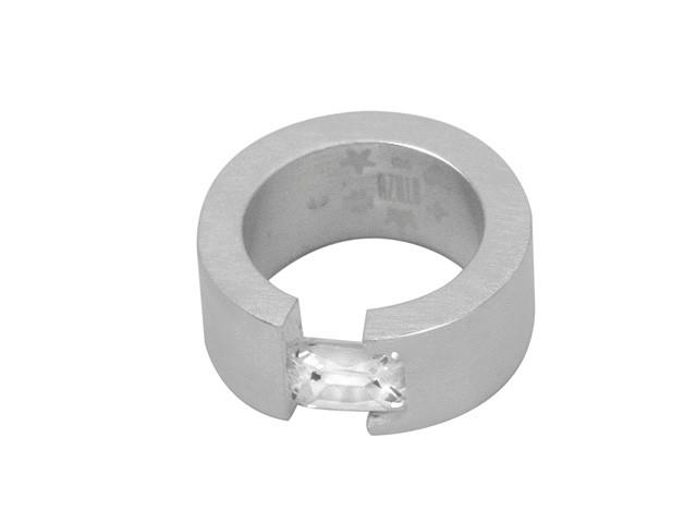 Otazu Elegance Collection Silver White CZ Ring