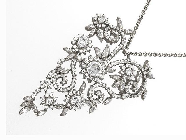 Otazu Silver White CZ Heart 42cm Necklace