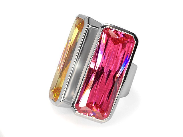 Otazu Silver Pink and Yellow CZ Ring