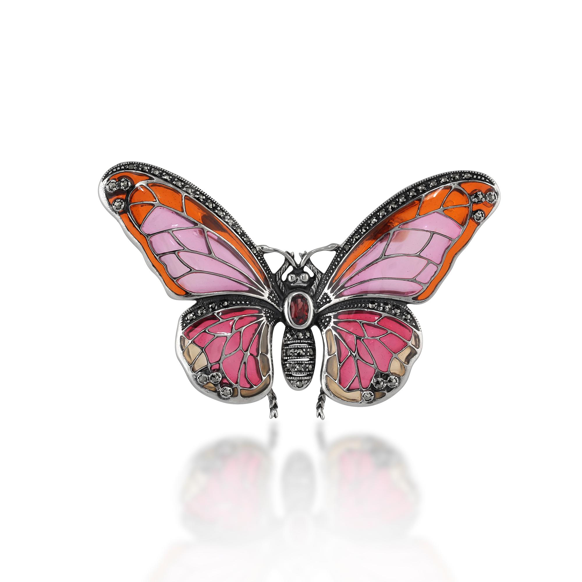 925 Sterling Silver Marcasite, Garnet & Enamel Butterfly Brooch