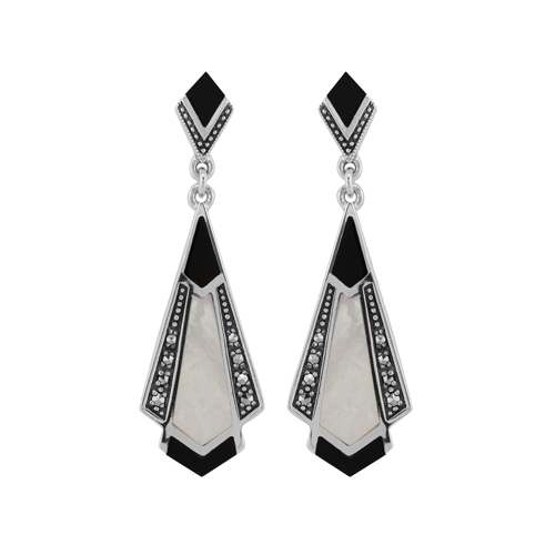 Sterling Silver Black Onyx, Mother of Pearl & Marcasite Drop Earrings