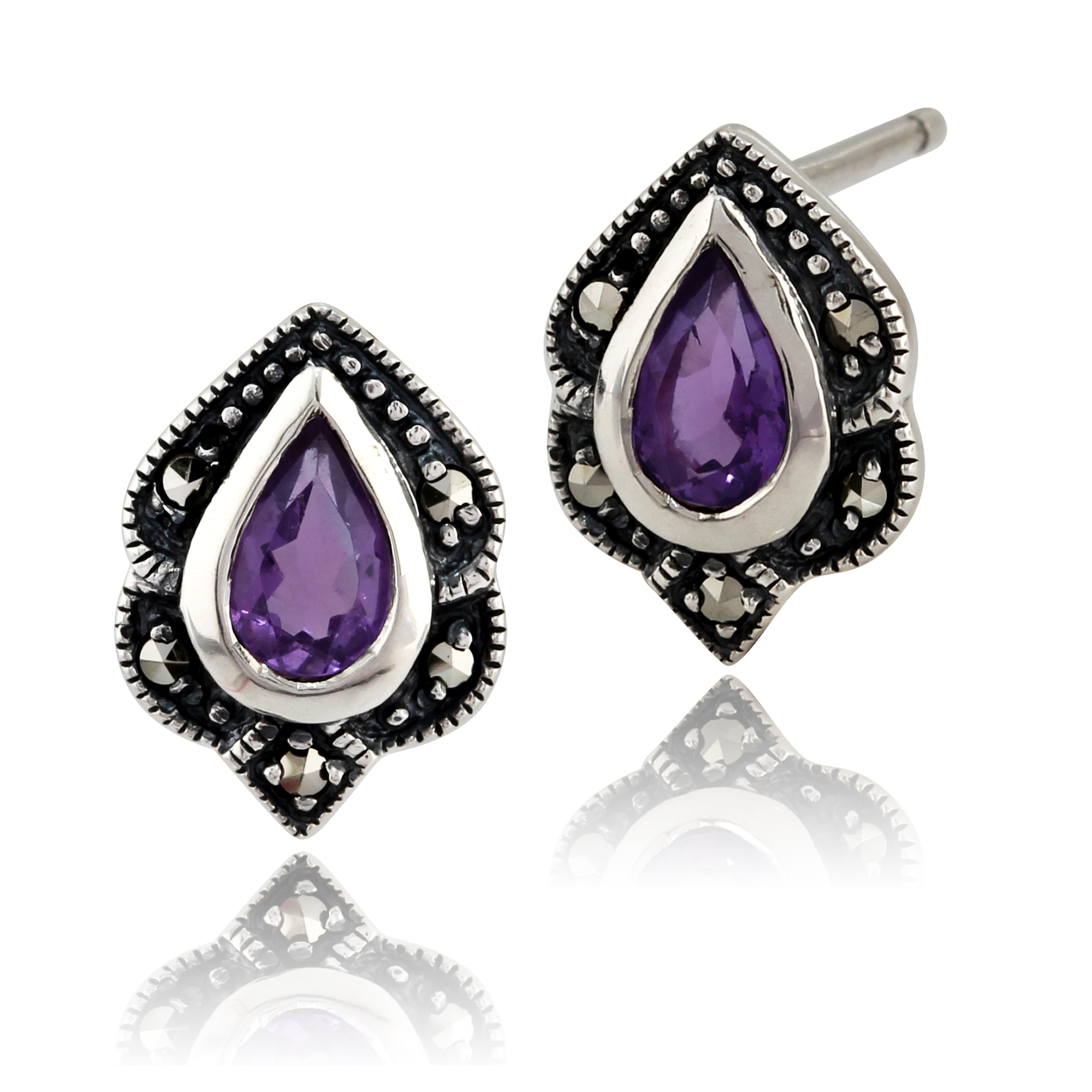 Sterling Silver 0.3ct Amethyst & Marcasite Art Nouveau Stud Earrings