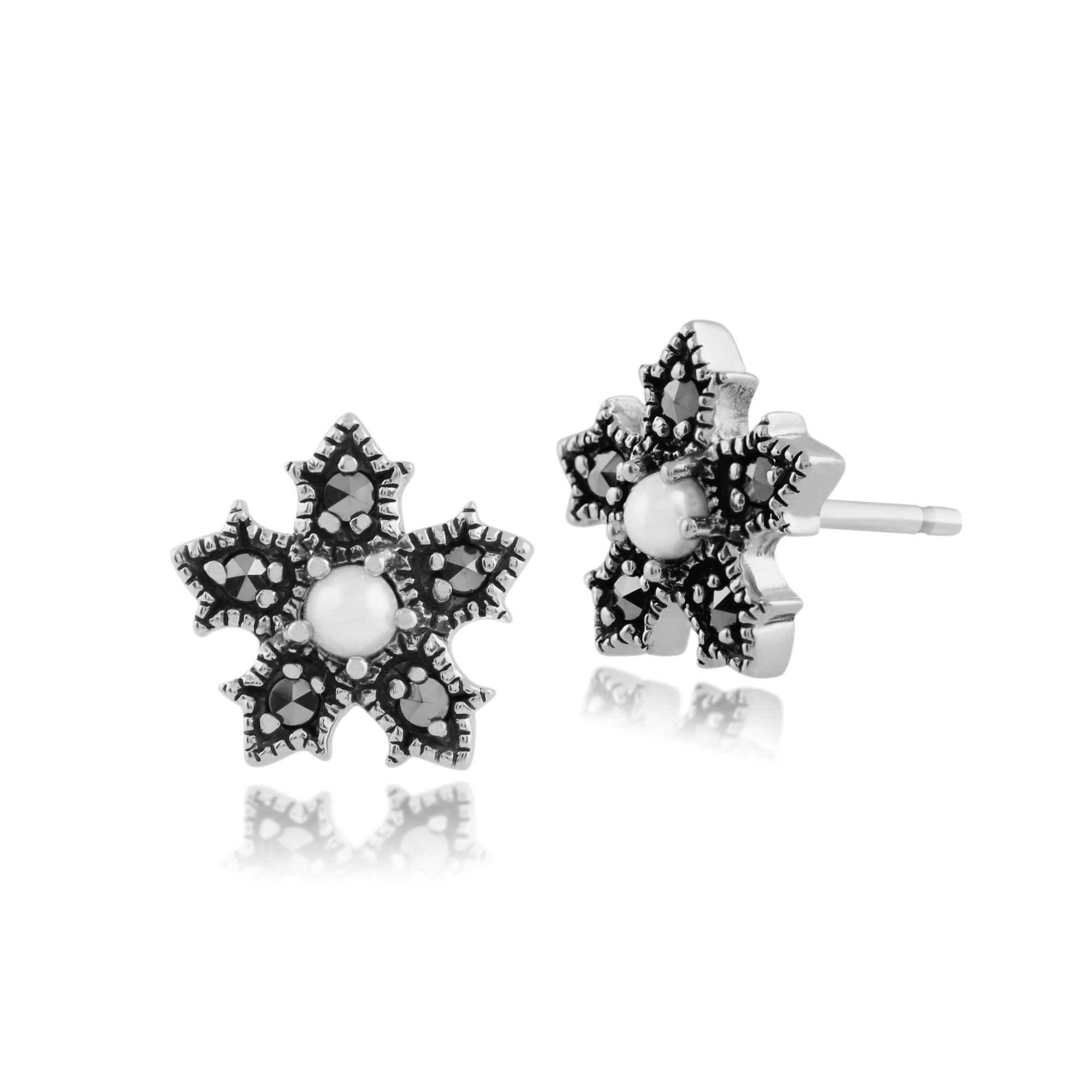 Gemondo 925 Sterling Silver 0.24ct Pearl & Marcasite Floral Stud Earrings