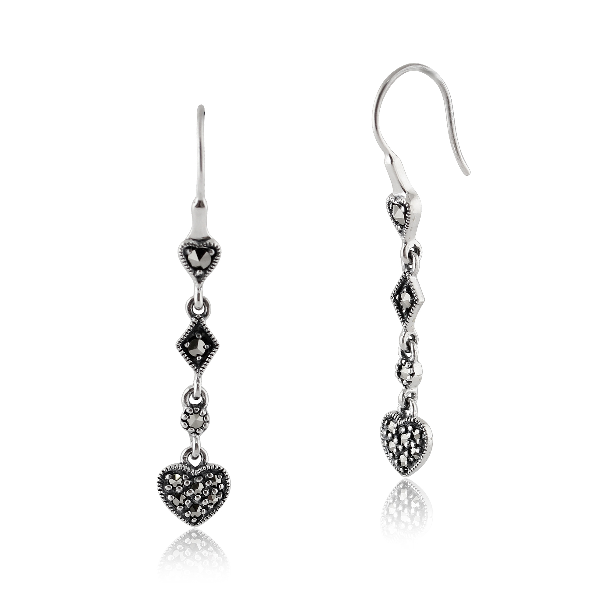 Gemondo Sterling Silver 0.34ct Marcasite Pave Set Heart Drop Earrings