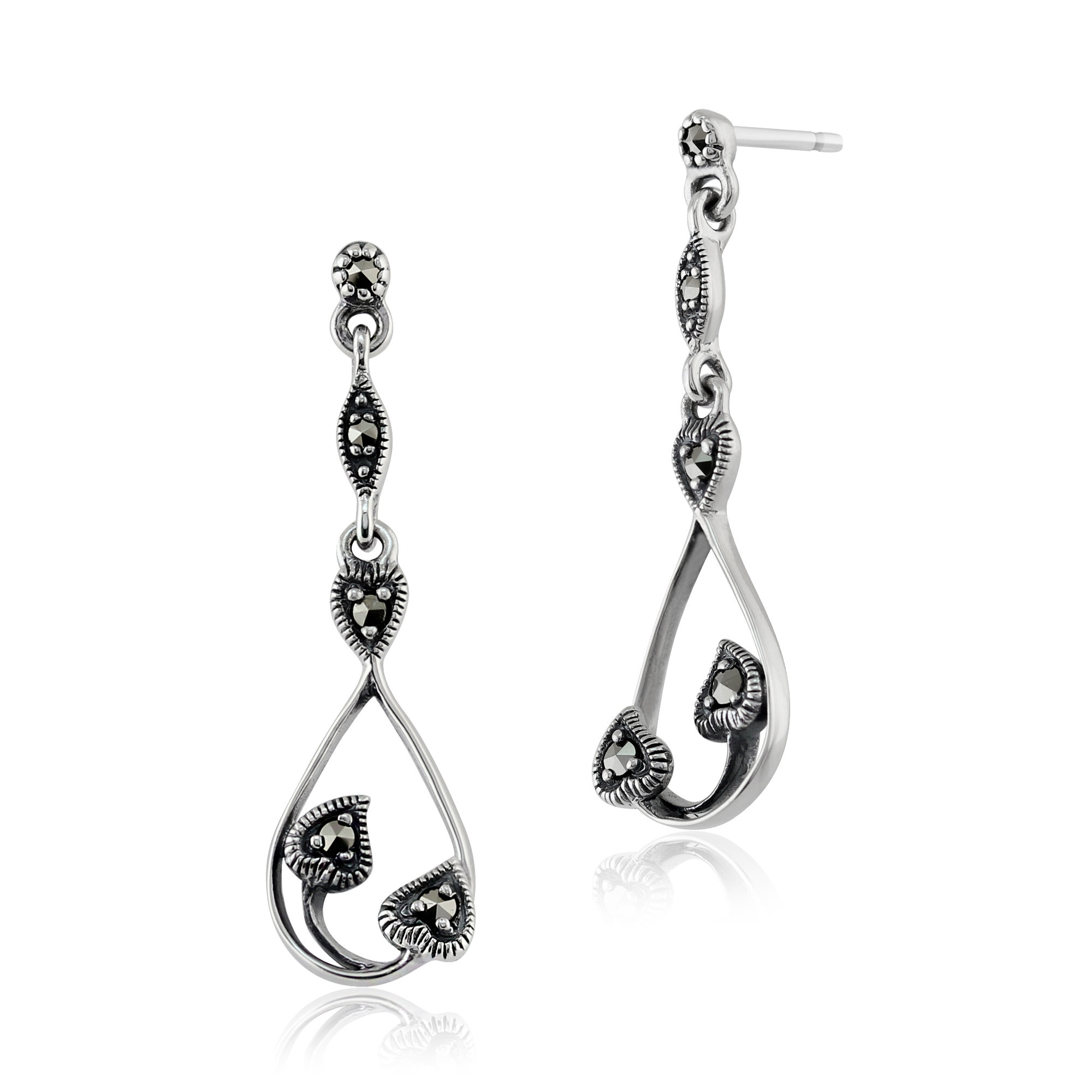 Gemondo Sterling Silver 0.16ct Marcasite Set Art Nouveau Style Drop Earrings