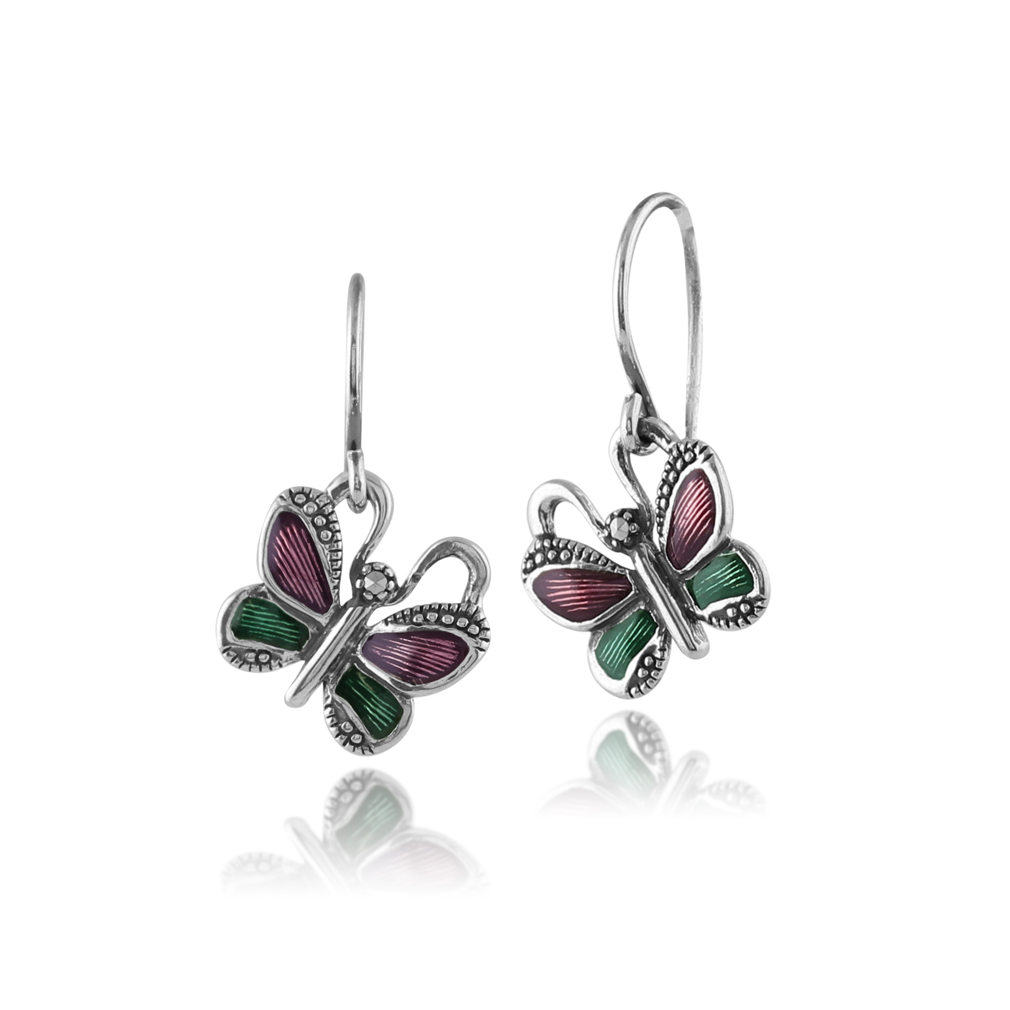 925 Sterling Silver Butterfly Marcasite Drop Earrings With Green & Violet Enamel