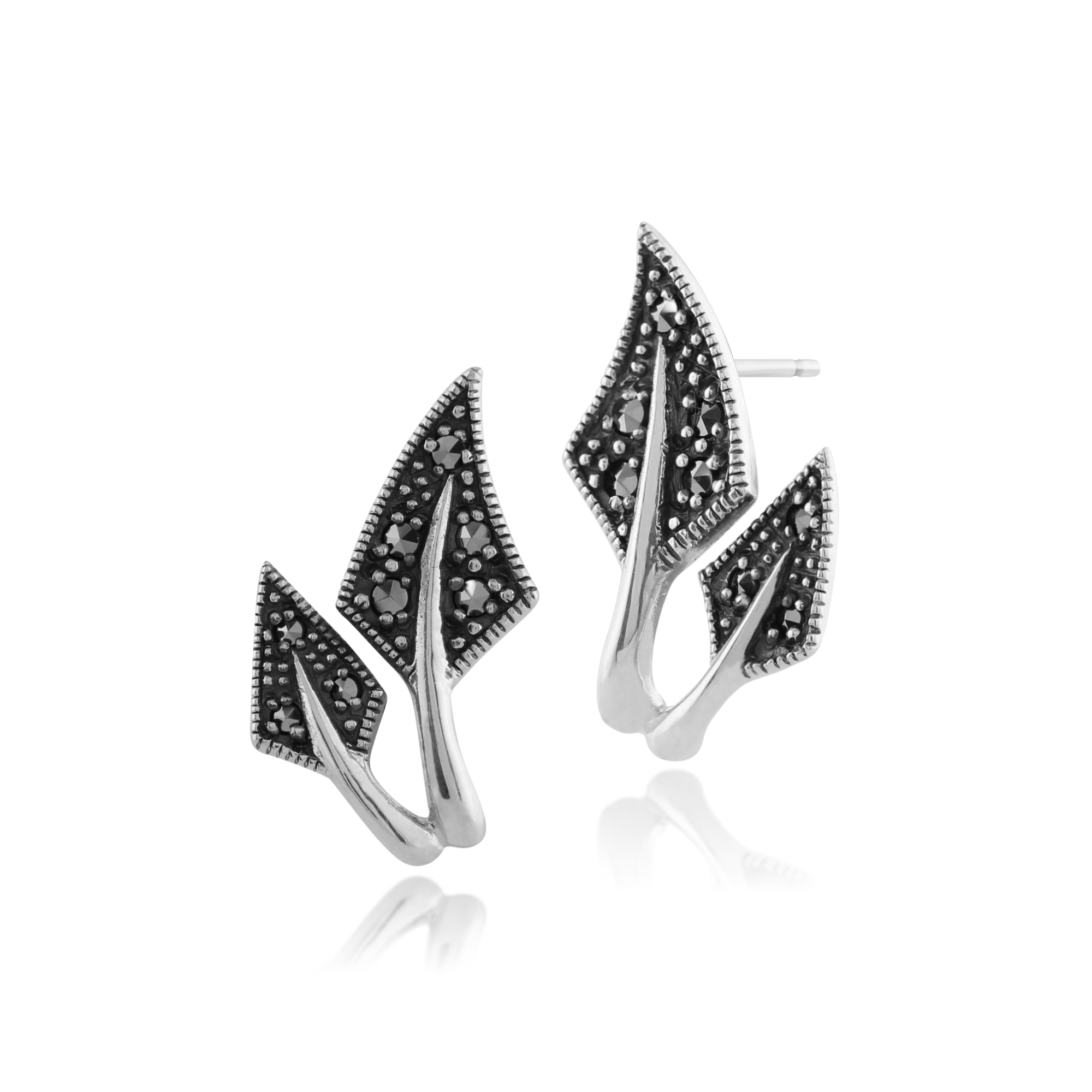 Gemondo 925 Sterling Silver 0.22ct Marcasite Leaf Design Earrings