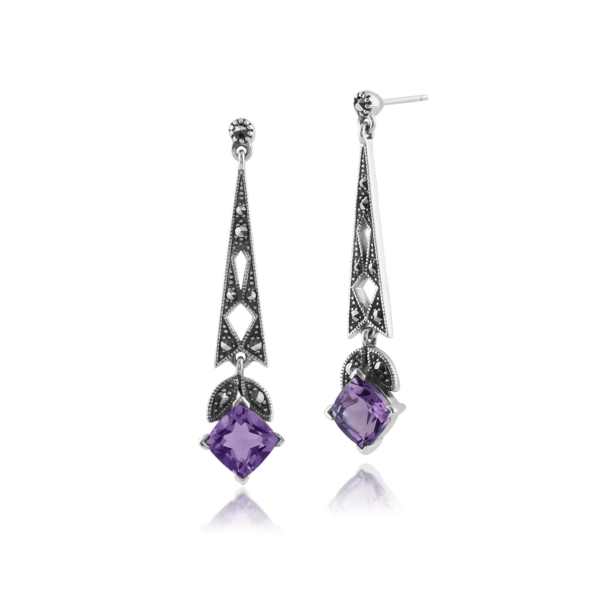 925 sterling silver amethyst marcasite art deco statement drop earrings. Black Bedroom Furniture Sets. Home Design Ideas