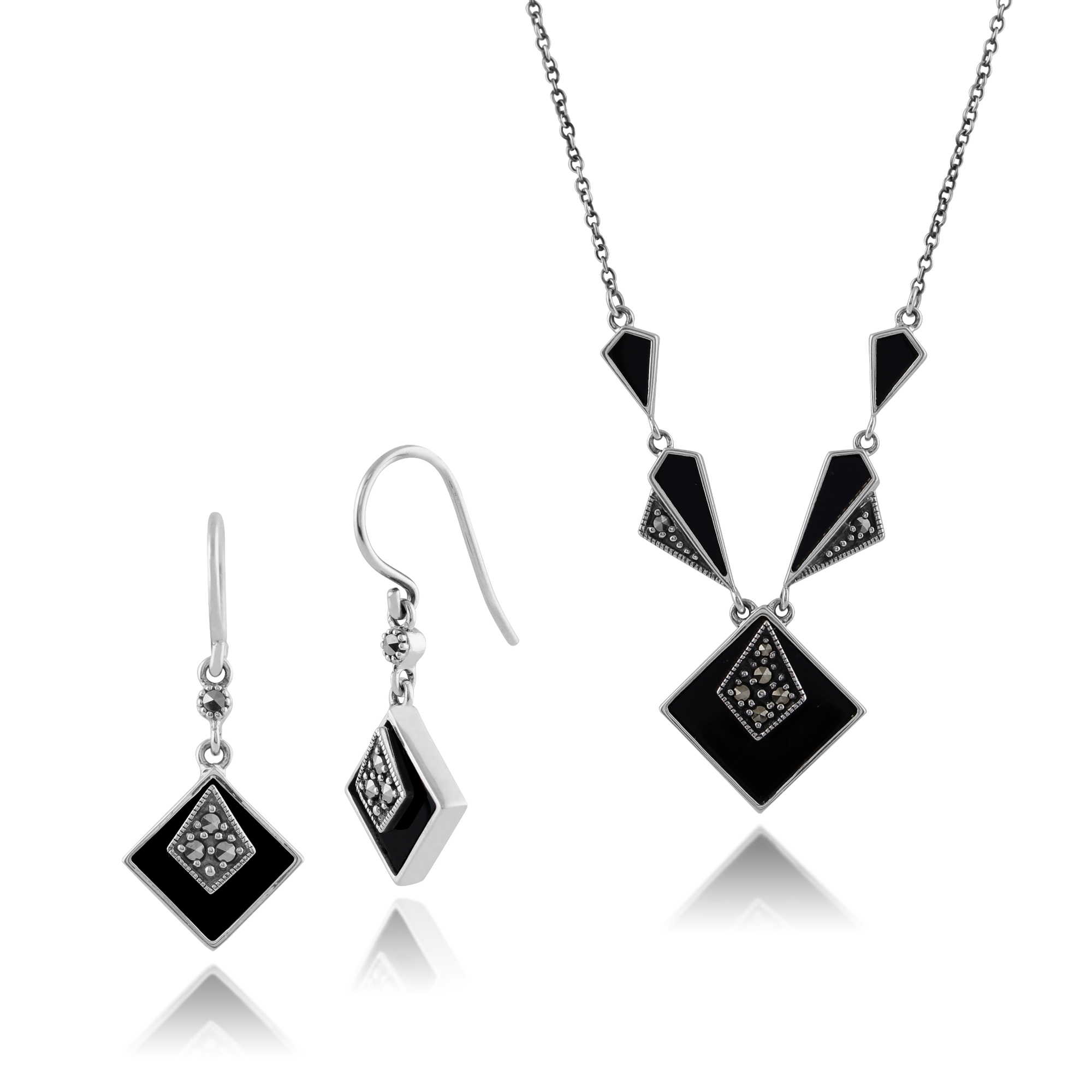 925 Sterling Silver Black Onyx & Marcasite Drop Earrings & 45cm Necklace Set