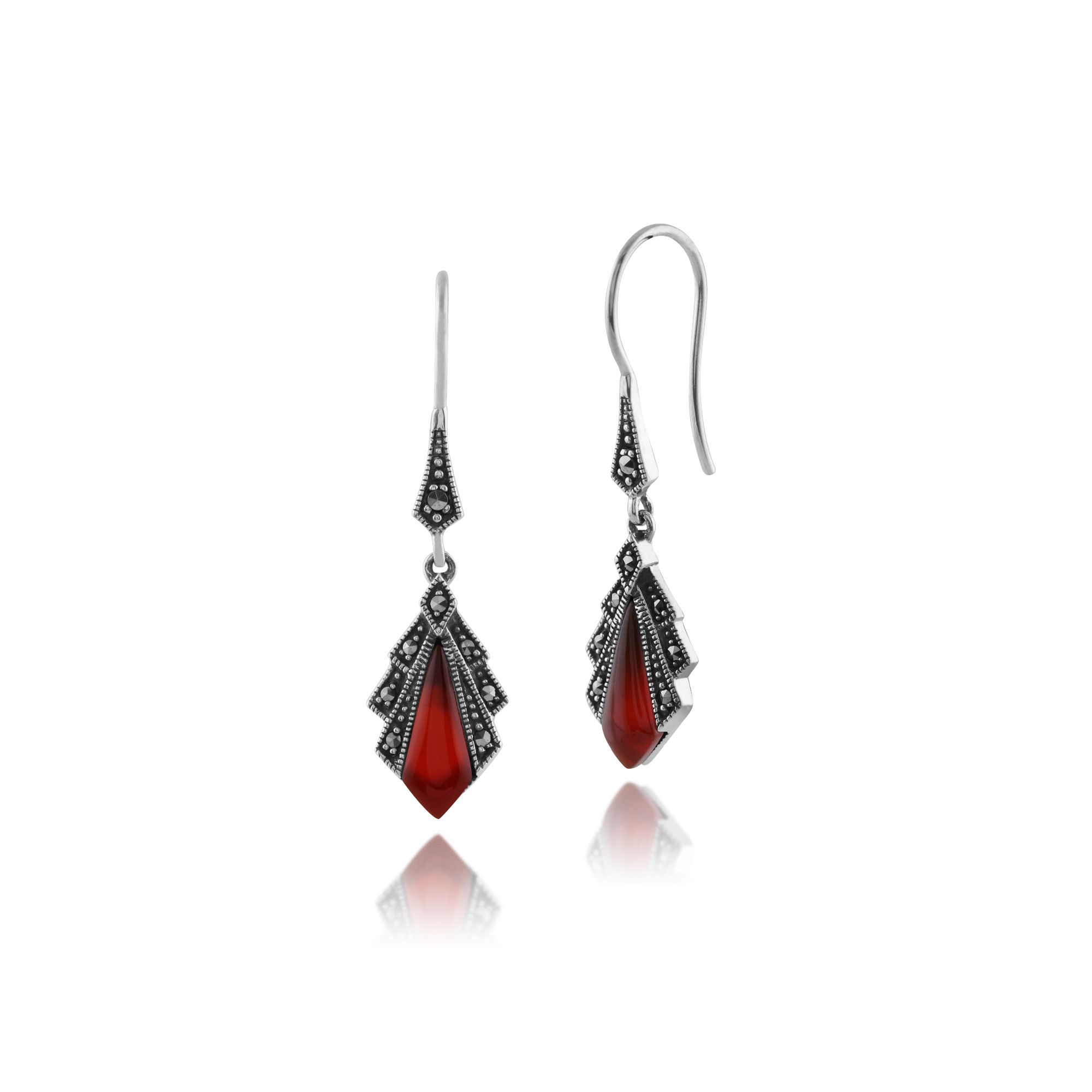 gemondo 925 sterling silver 1ct carnelian marcasite art deco drop earrings ebay. Black Bedroom Furniture Sets. Home Design Ideas