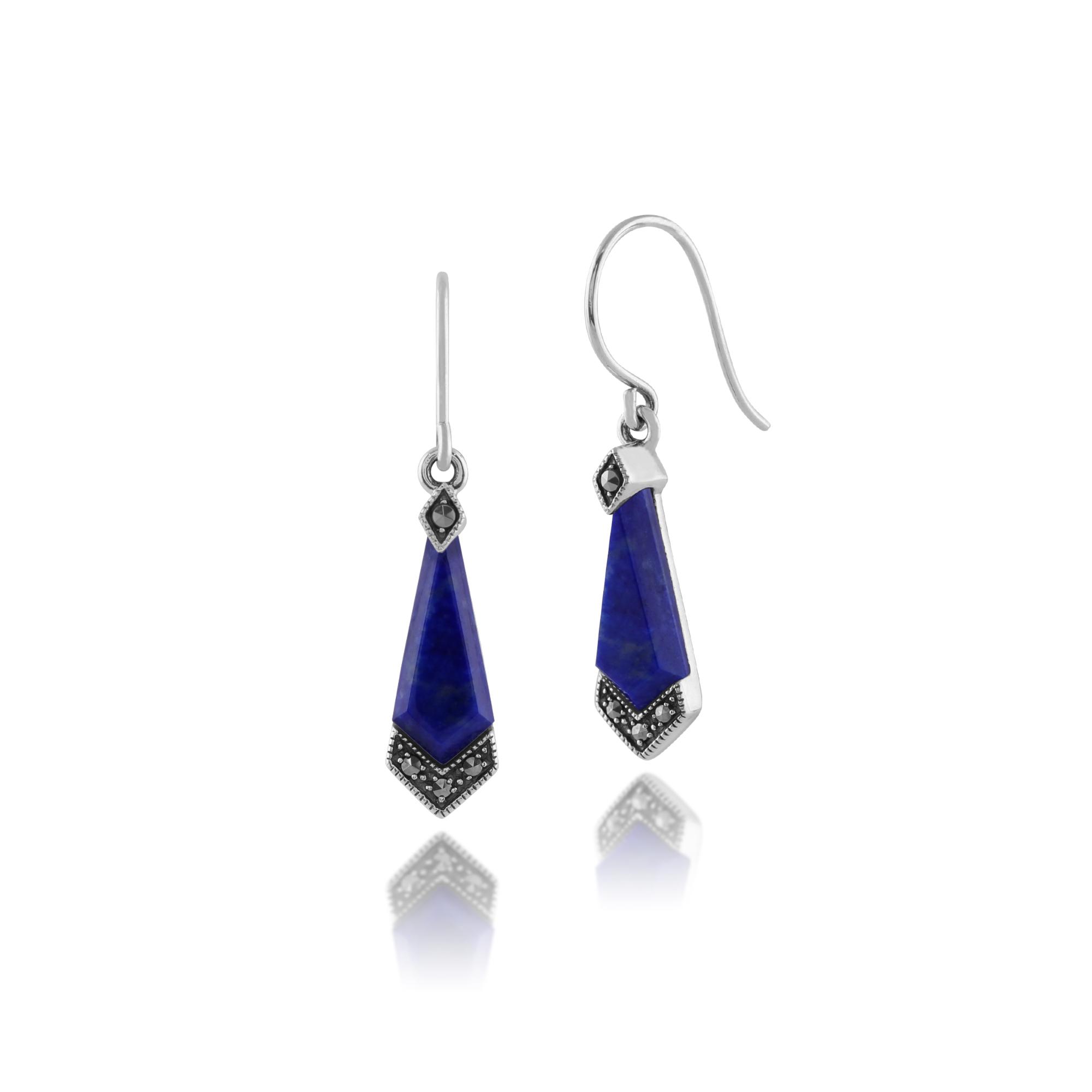 gemondo 925 sterling silver 2ct lapis lazuli marcasite art deco drop earrings ebay. Black Bedroom Furniture Sets. Home Design Ideas