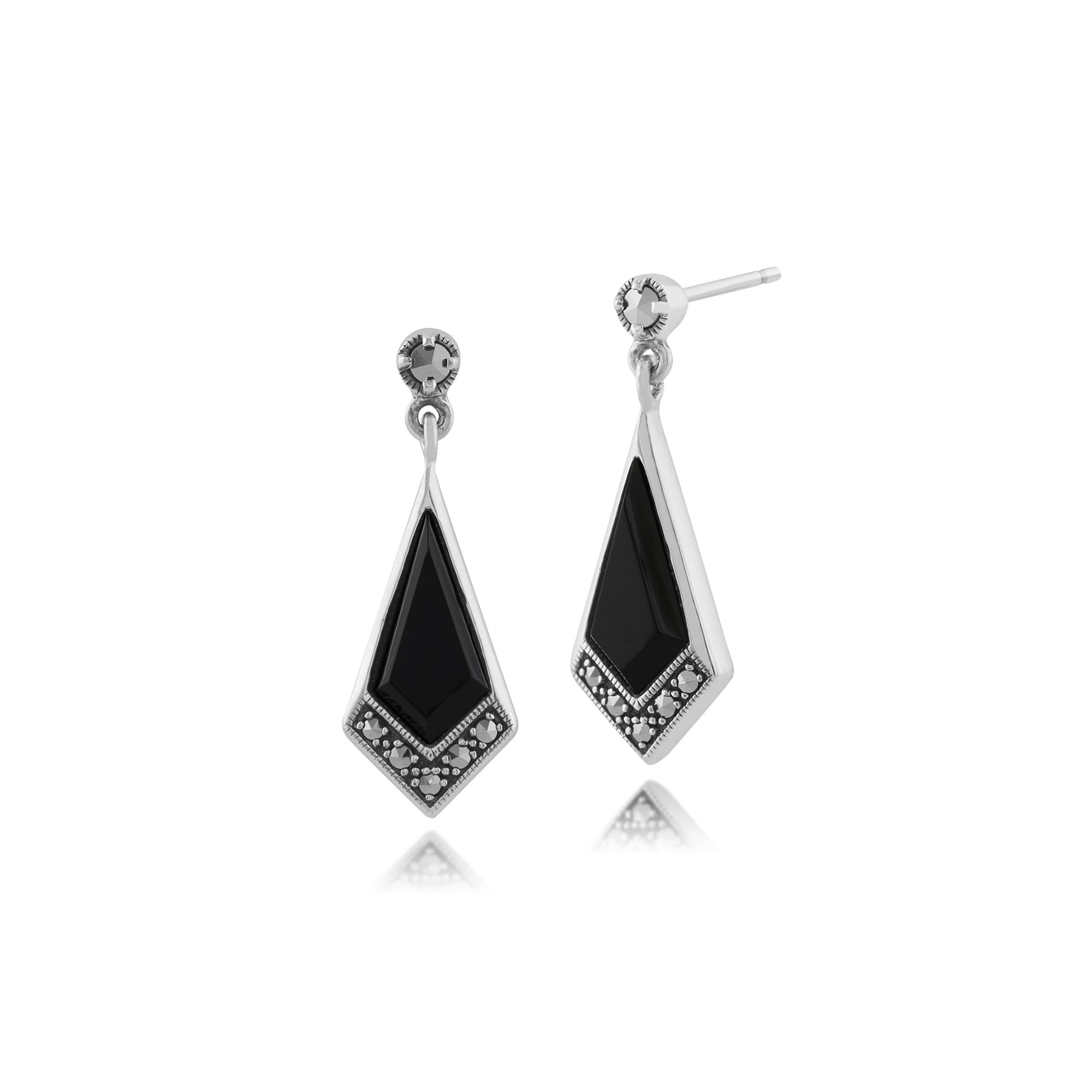 gemondo 925 sterling silver 2ct black onyx marcasite art deco drop earrings. Black Bedroom Furniture Sets. Home Design Ideas