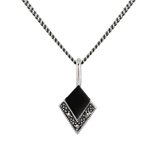 Sterling Silver 0.50ct Black Onyx & Marcasite Art Deco 45cm Necklace