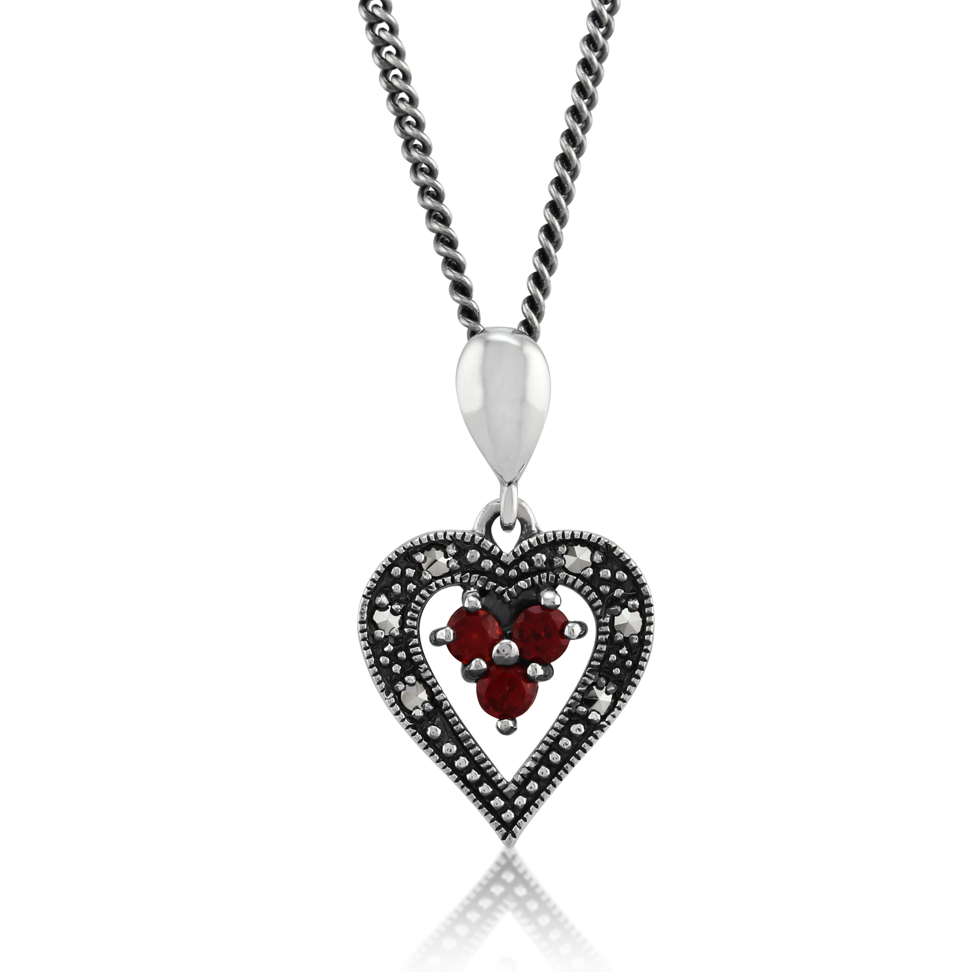 "Sterling Silver 0.12ct Garnet & Marcasite Heart 45"" Necklace"