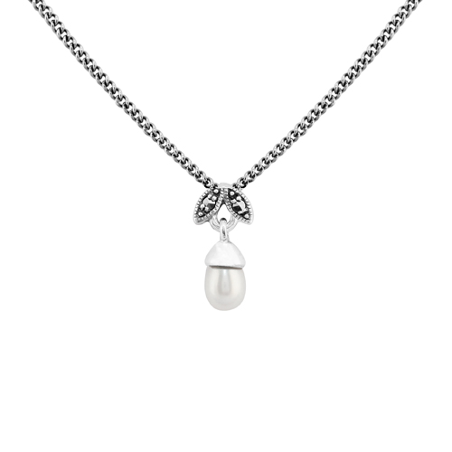 Sterling Silver 0.72ct Freshwater Pearl & Marcasite June 45cm Necklace