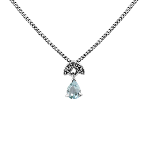 Sterling Silver 0.31ct Blue Topaz & Marcasite November 45cm Necklace