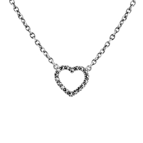 Sterling Silver 0.1ct Marcasite Heart 40cm Necklace