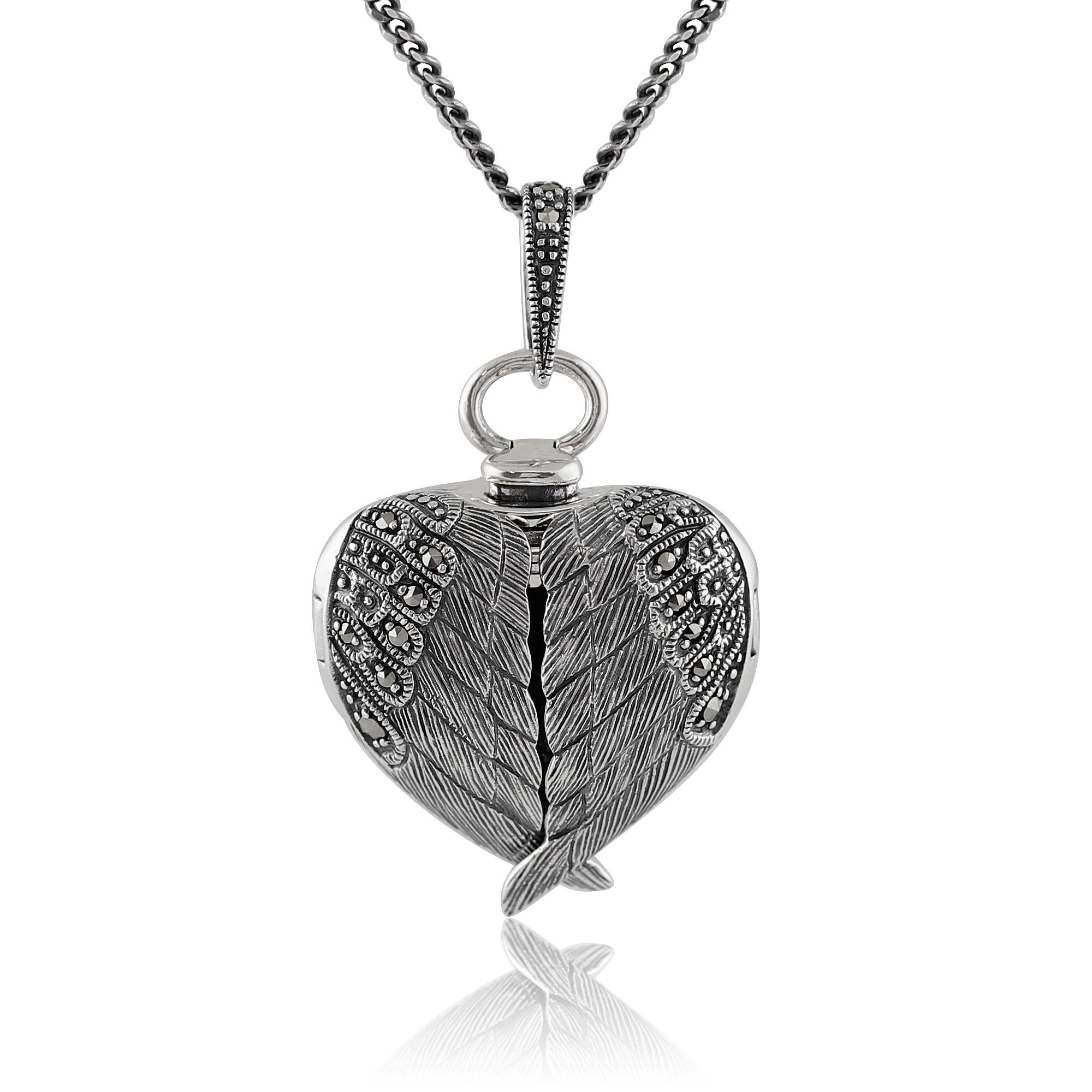 gemondo sterling silver marcasite angel wing heart. Black Bedroom Furniture Sets. Home Design Ideas