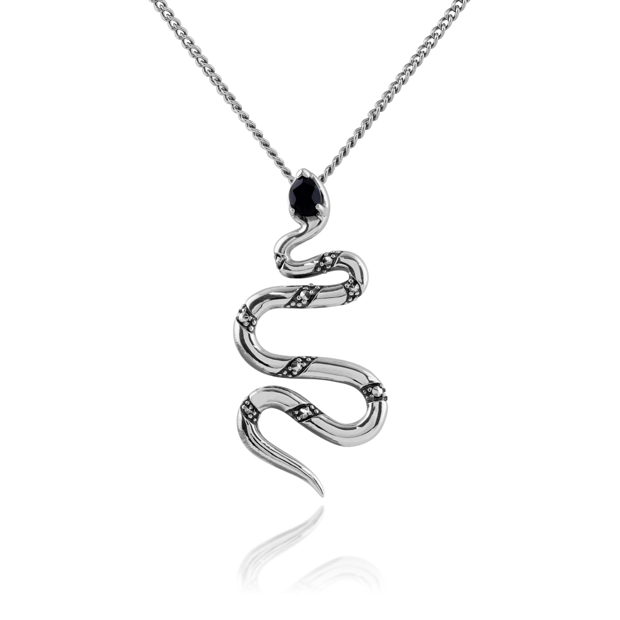 Gemondo 925 Sterling Silver 0.17ct Black Spinel & Marcasite Snake Necklace
