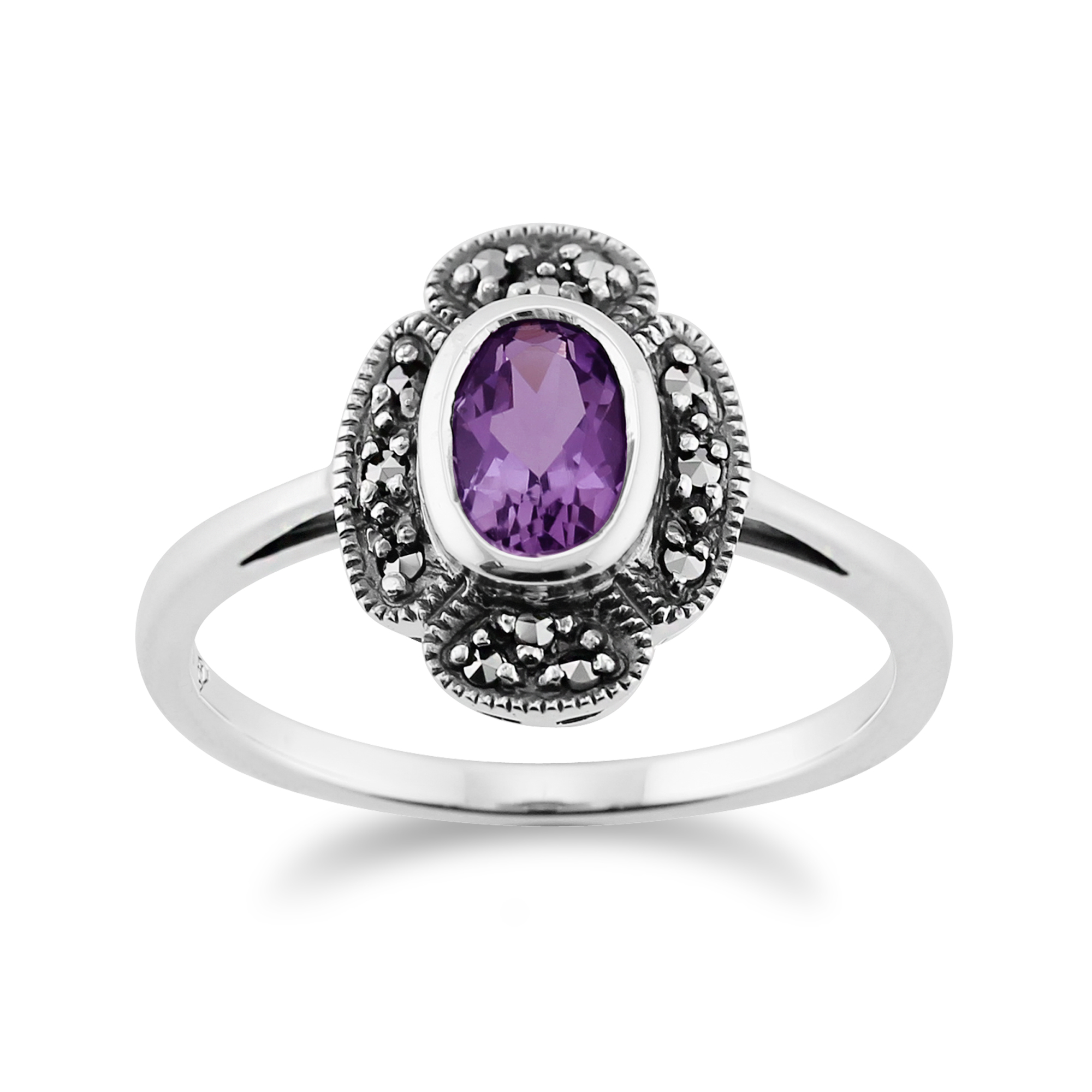 Gemondo Sterling Silver 0.35ct Amethyst & 9pt Marcasite Art Deco Style Ring