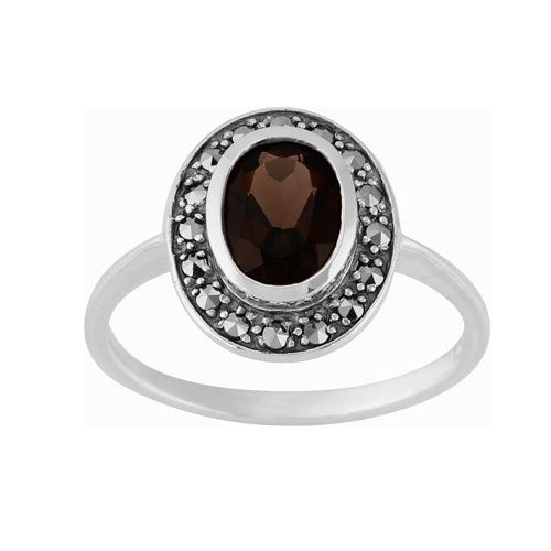 Sterling Silver 1.12ct Smokey Quartz & Marcasite Cluster Ring Size: K