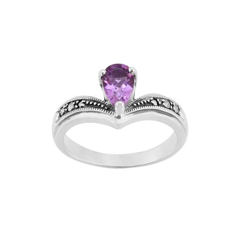 Sterling Silver Art Nouveau 0.7ct Amethyst & Marcasite Ring Size: L