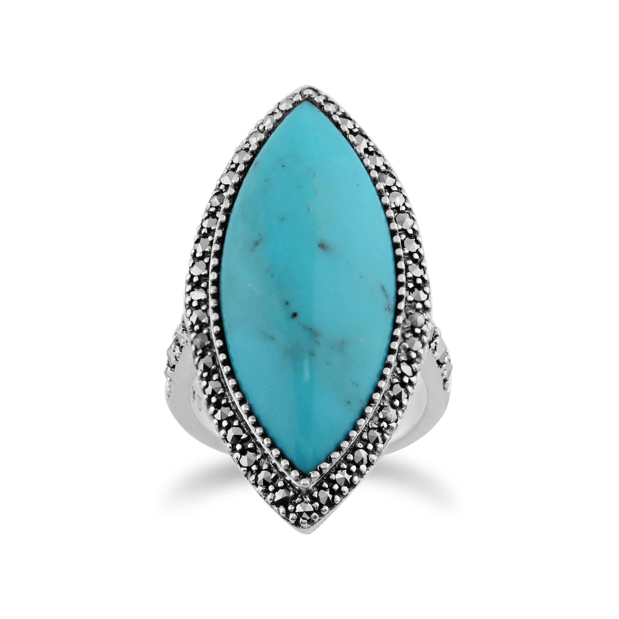 Gemondo 925 Sterling Silver 13ct Turquoise & Marcasite Statement Ring