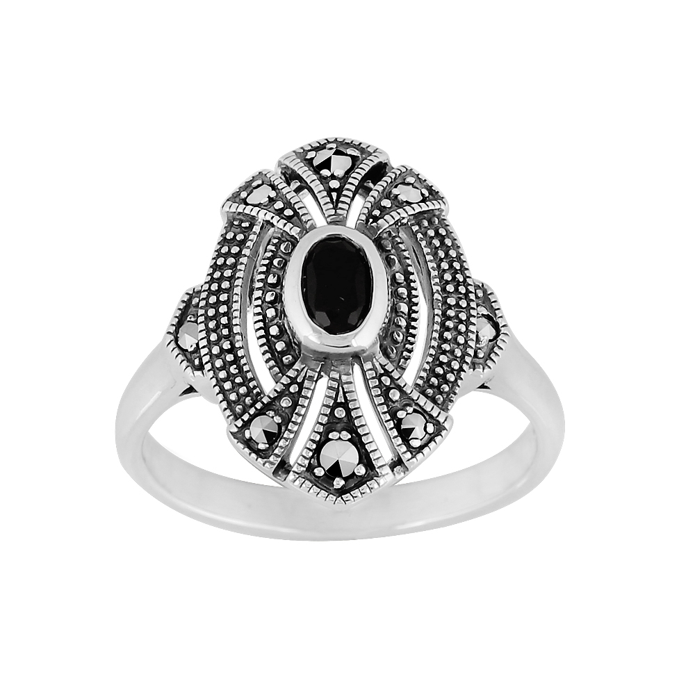 Sterling Silver 0.30ct Black Onyx & Marcasite Art Deco Ring Size: M