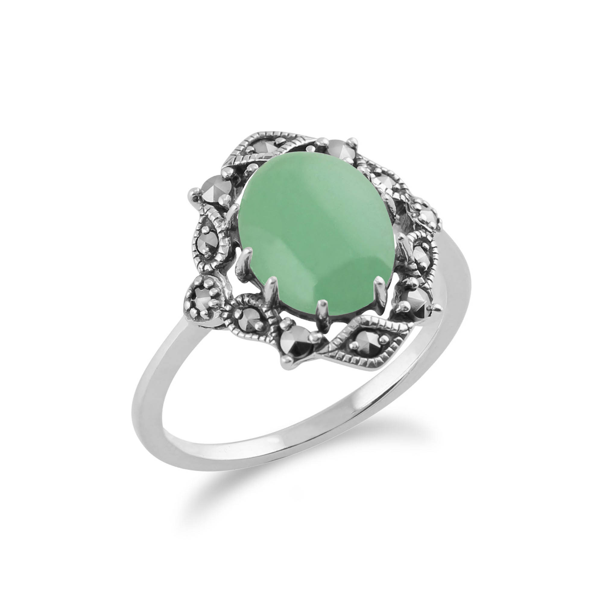 925 sterling silver nouveau green jade marcasite