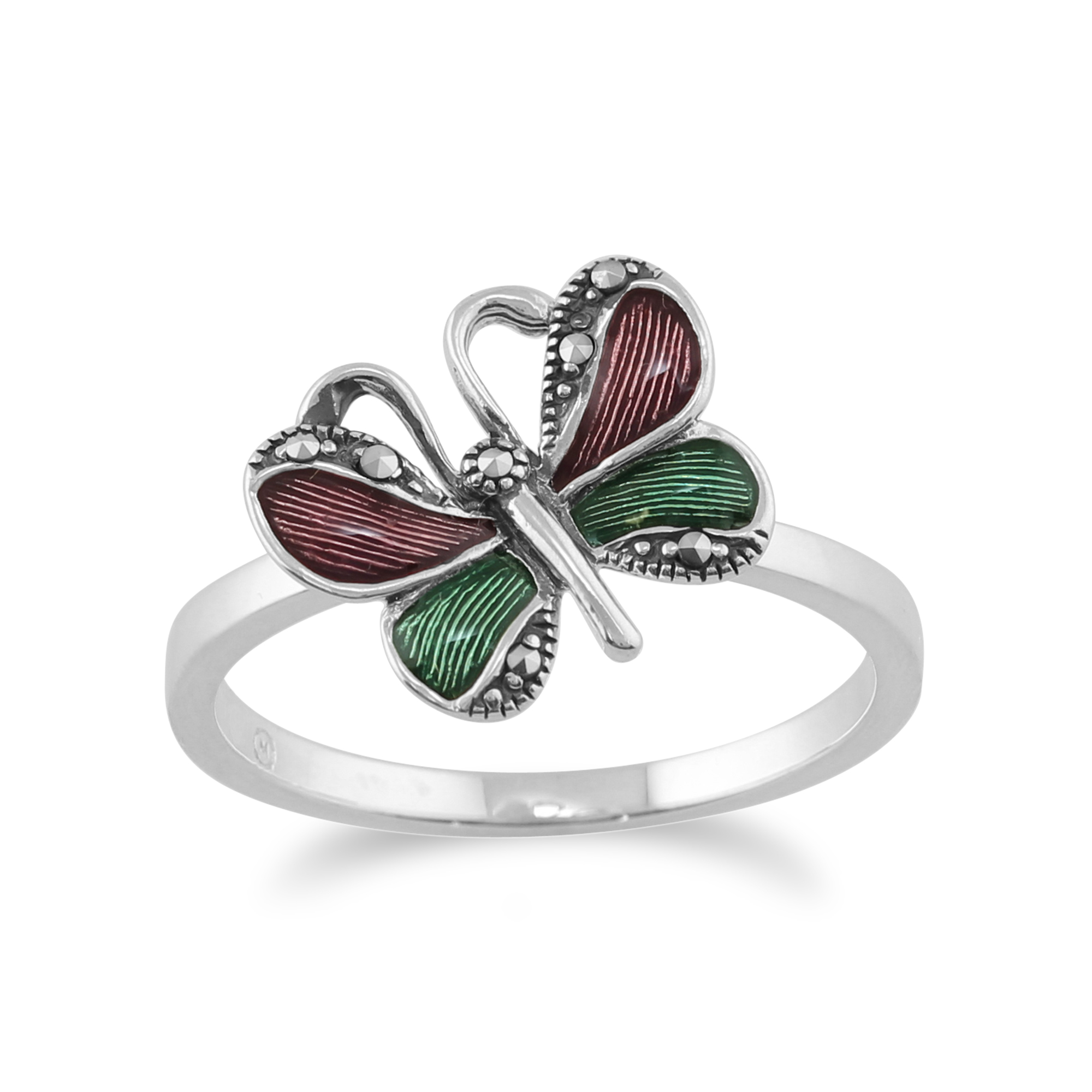 925 Sterling Silver Butterfly Marcasite Ring With Green & Violet Enamel