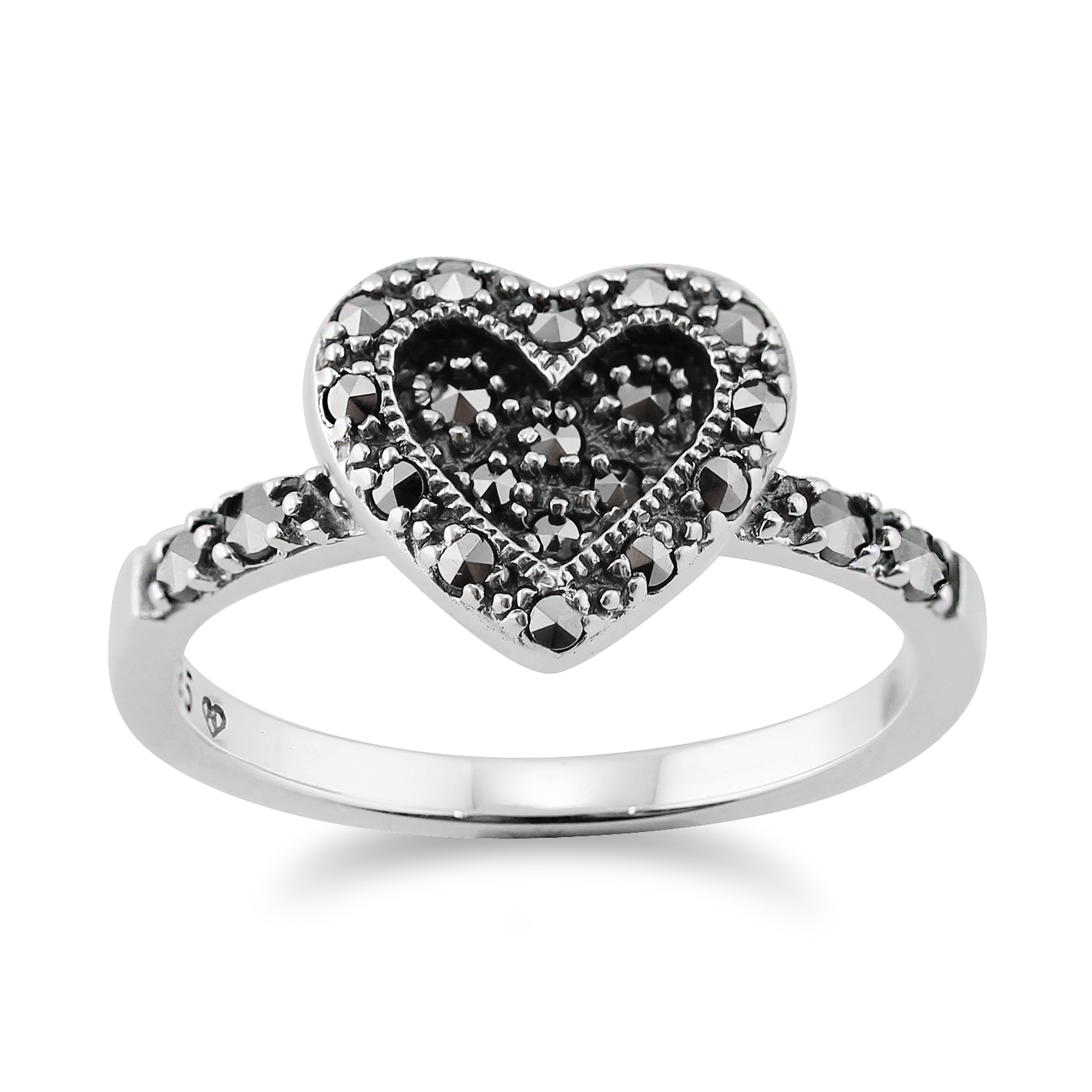 Gemondo Sterling Silver 0.32ct Pave Set Marcasite Heart Style Ring