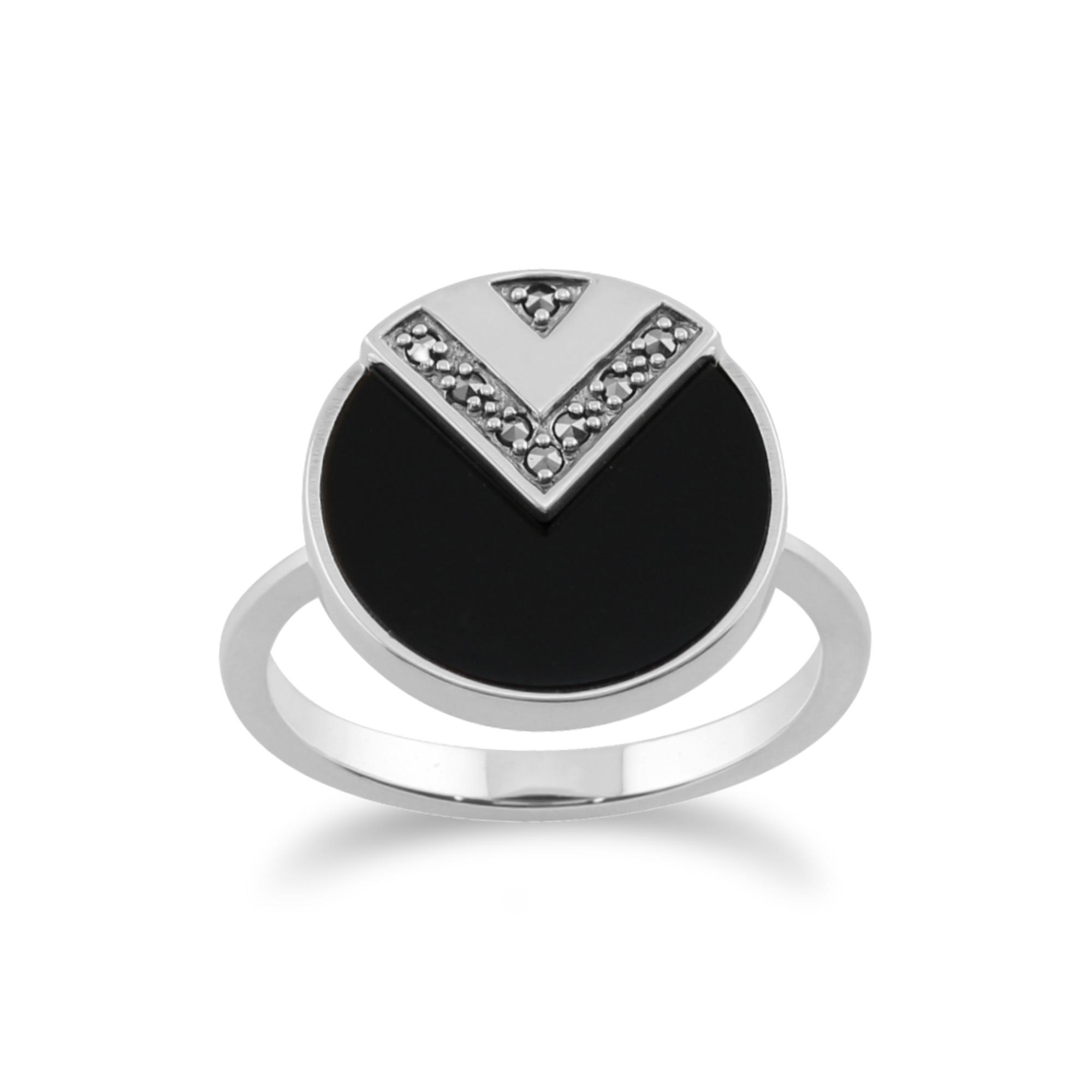 Gemondo 925 Sterling Silver 3ct Black Onyx & Marcasite Art Deco Ring
