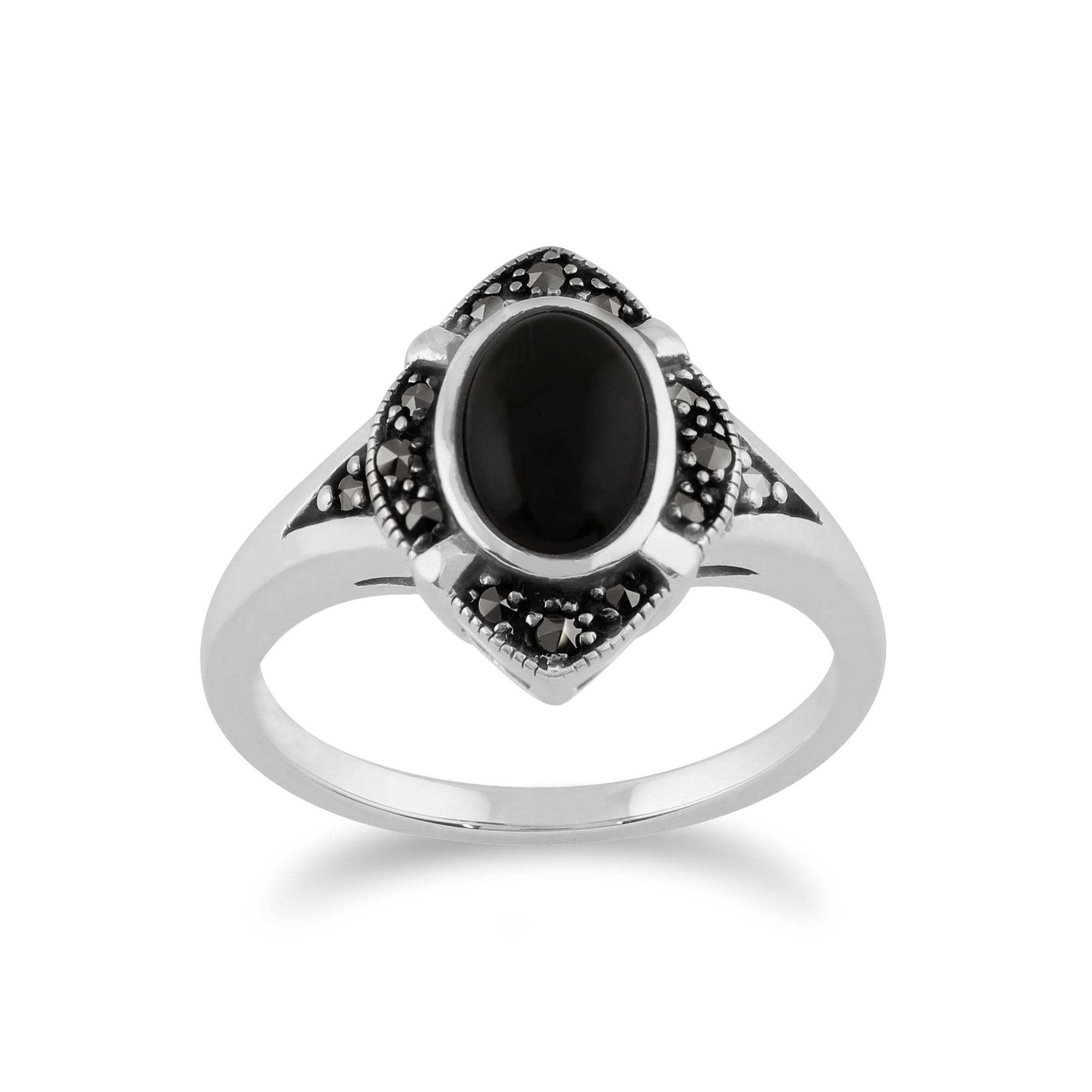 Gemondo 925 Sterling Silver 1.00ct Black Onyx & Marcasite Art Deco Ring