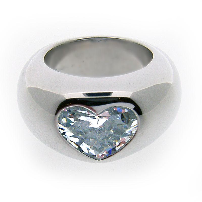 Otazu Silver Heart Cut White CZ Ring