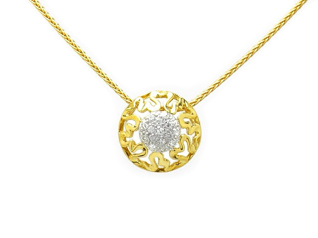 Zandra Rhodes 9ct Yellow Gold Diamond Set Necklace