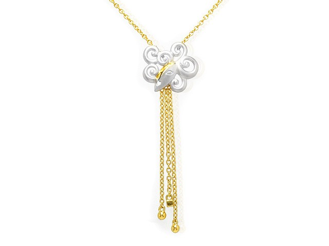 Zandra Rhodes 9ct Two Tone Gold Diamond Drop Necklace