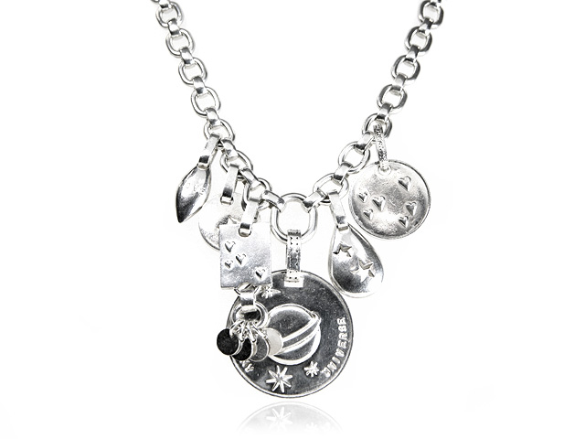 Otazu Silver Collection Chunky Charm Necklace