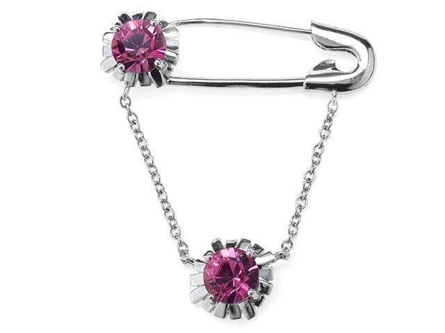 Zandra Rhodes 925 Silver Pink Crystal Brooch