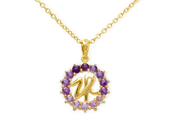 Zandra Rhodes Gold Plated Silver Amethyst ZR Necklace