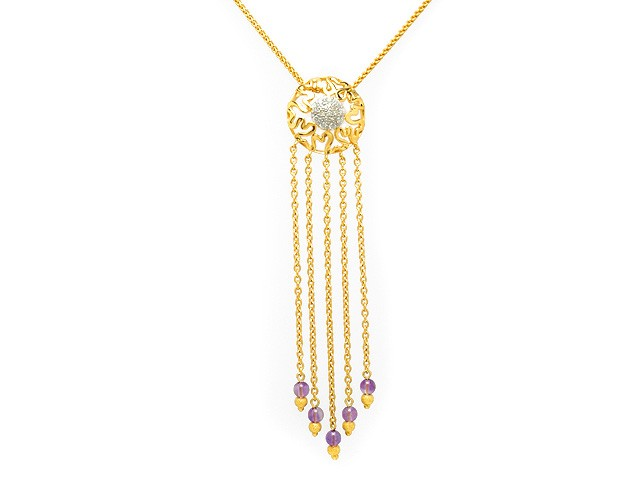 Zandra Rhodes Silver Amethyst & Diamond Necklace