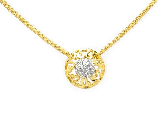 Zandra Rhodes Gold Plated Silver Diamond Set Necklace
