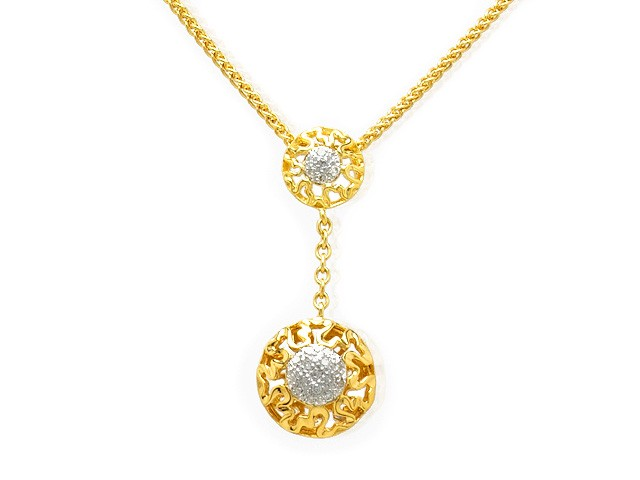 Zandra Rhodes Gold Plated Silver Diamond Drop Necklace