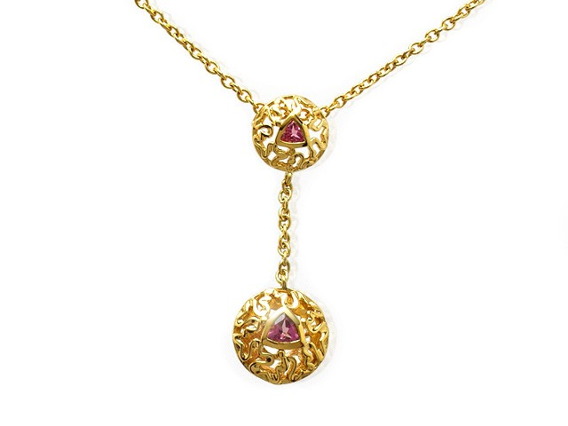 Zandra Rhodes Plated Silver Pink Tourmaline Necklace