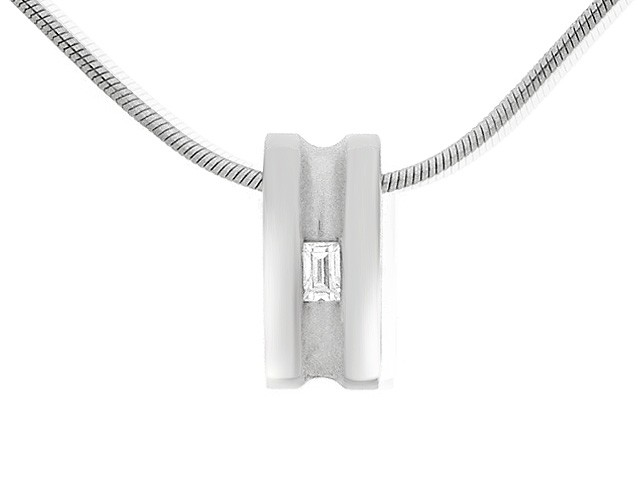 Sterling Silver White Cubic Zirconia Necklace