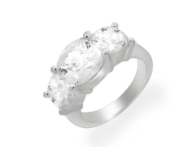 Silver Three Stone Cubic Zirconia Ring