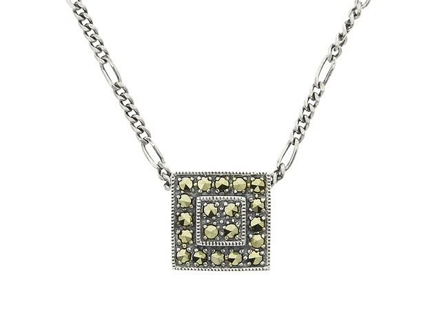 Silver Square Marcasite Necklace