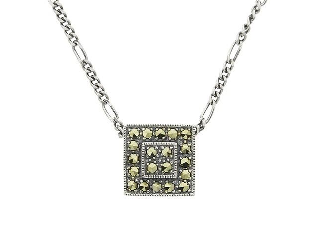 Silver Square Marcasite Necklace