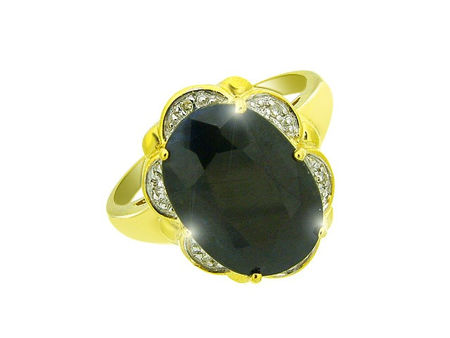 9CT Yellow Gold Dark Blue Sapphire Ring