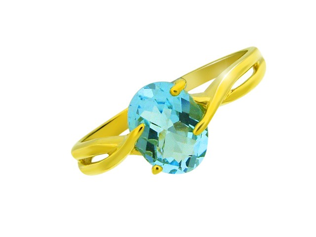 9ct Sky Blue Topaz Yellow Gold Ring