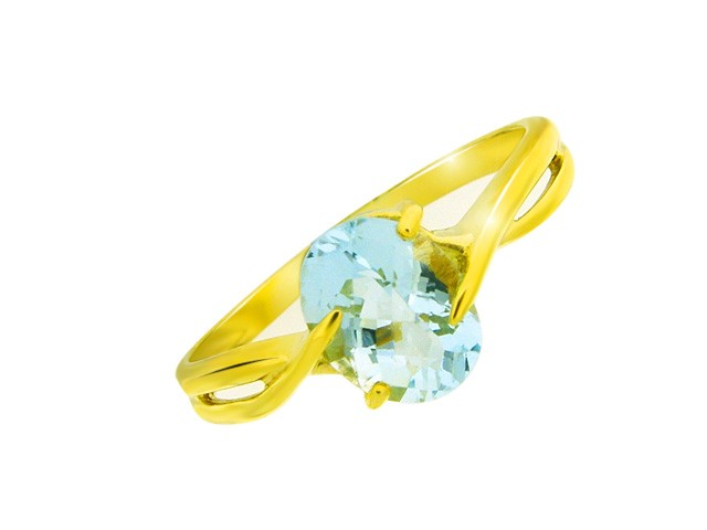 9ct Aquamarine Yellow Gold Ring